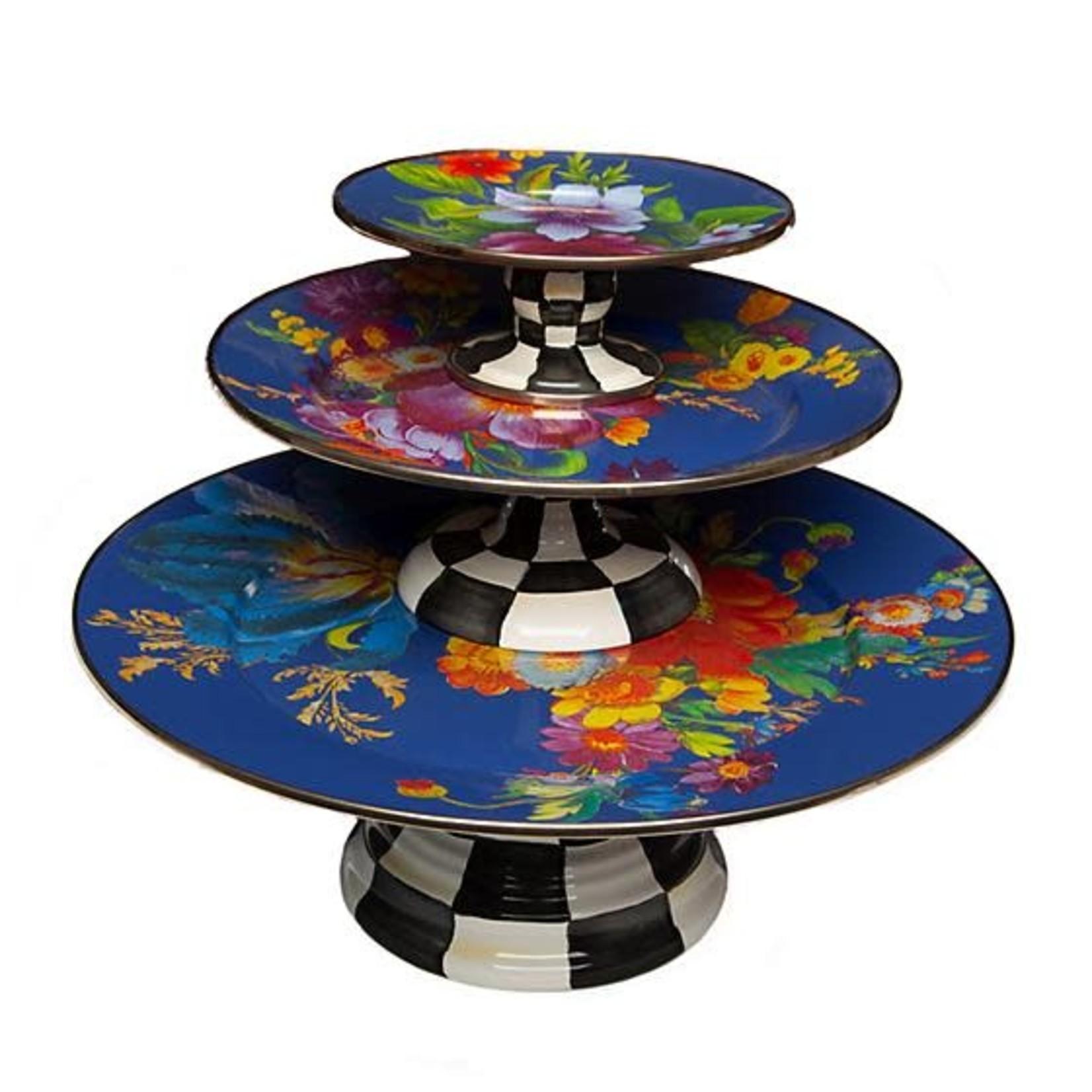 MacKenzie Childs Flower Market Small Pedestal Platter - Lapis
