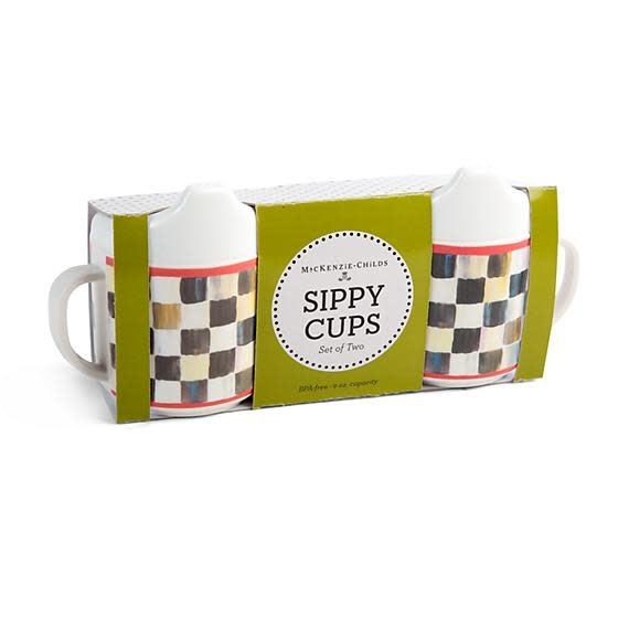 MacKenzie Childs Courtly Check Sippy Cups - Set of 2