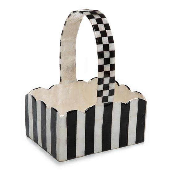 MacKenzie Childs Striped Capiz Basket