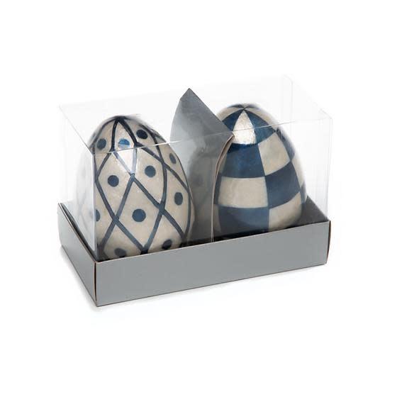 MacKenzie Childs Country Stroll Capiz Eggs - Set of 2