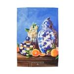 MacKenzie Childs Royal Check Still Life Dish Towel - Vase