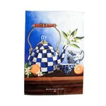 MacKenzie Childs Royal Check Still Life Dish Towel - Tea Kettle
