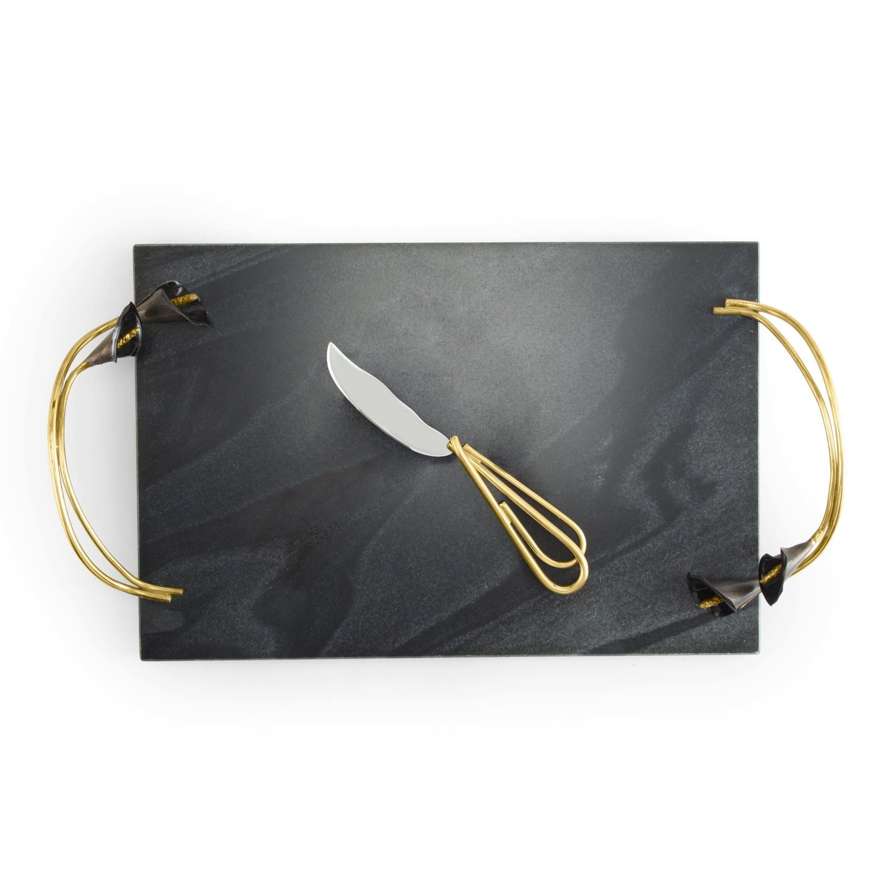 Michael Aram Calla Lily Midnight Cheese Board with knife