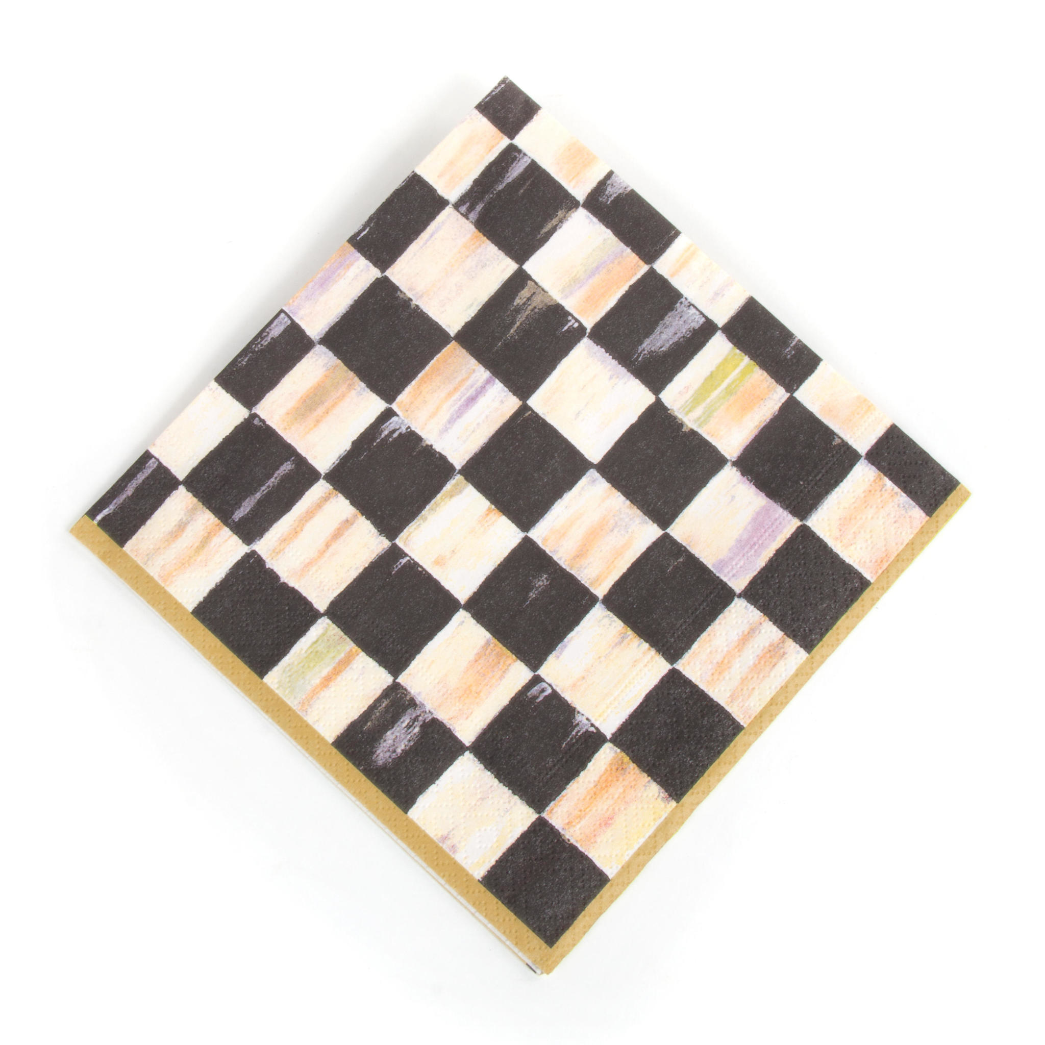 MacKenzie Childs Courtly Check Paper Napkins - Luncheon - Gold