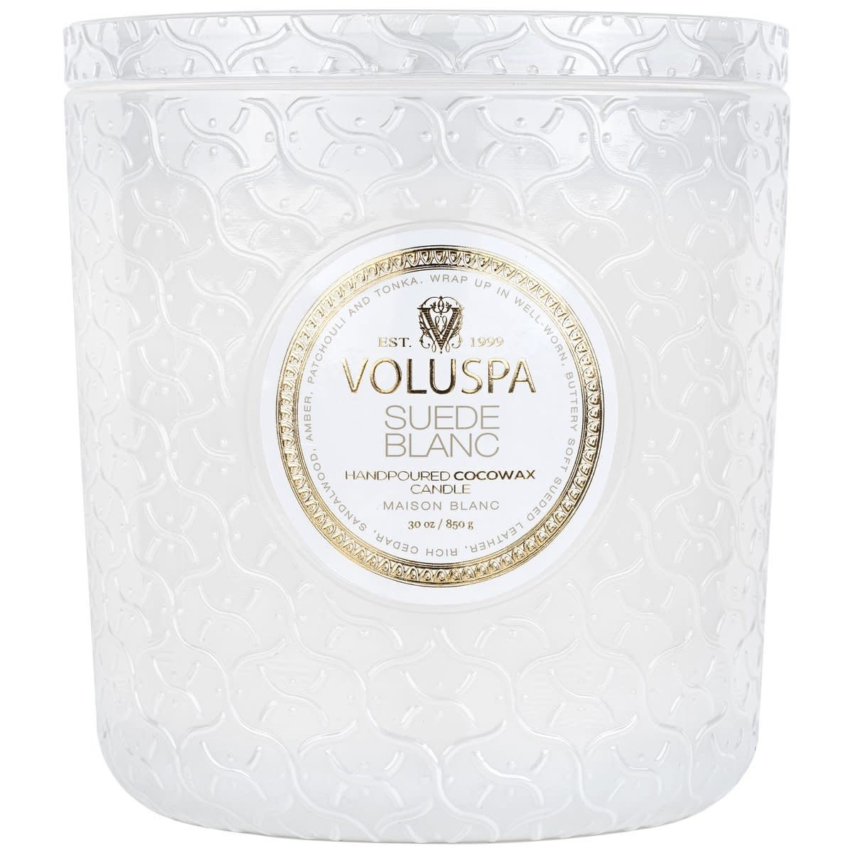 Voluspa SUEDE BLANC LUXE CANDLE
