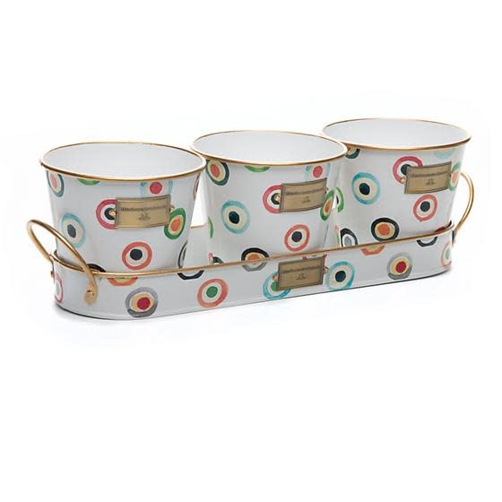 MacKenzie Childs Lunares Herb Pots with Tray - Set of 3