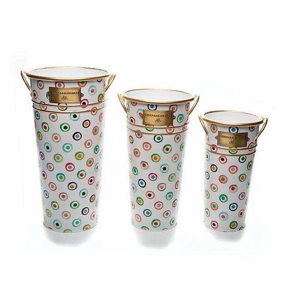MacKenzie Childs Lunares Flower Buckets - Set of 3
