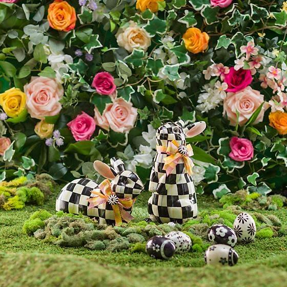 MacKenzie Childs Black & White Floral Capiz Eggs - Set of 5