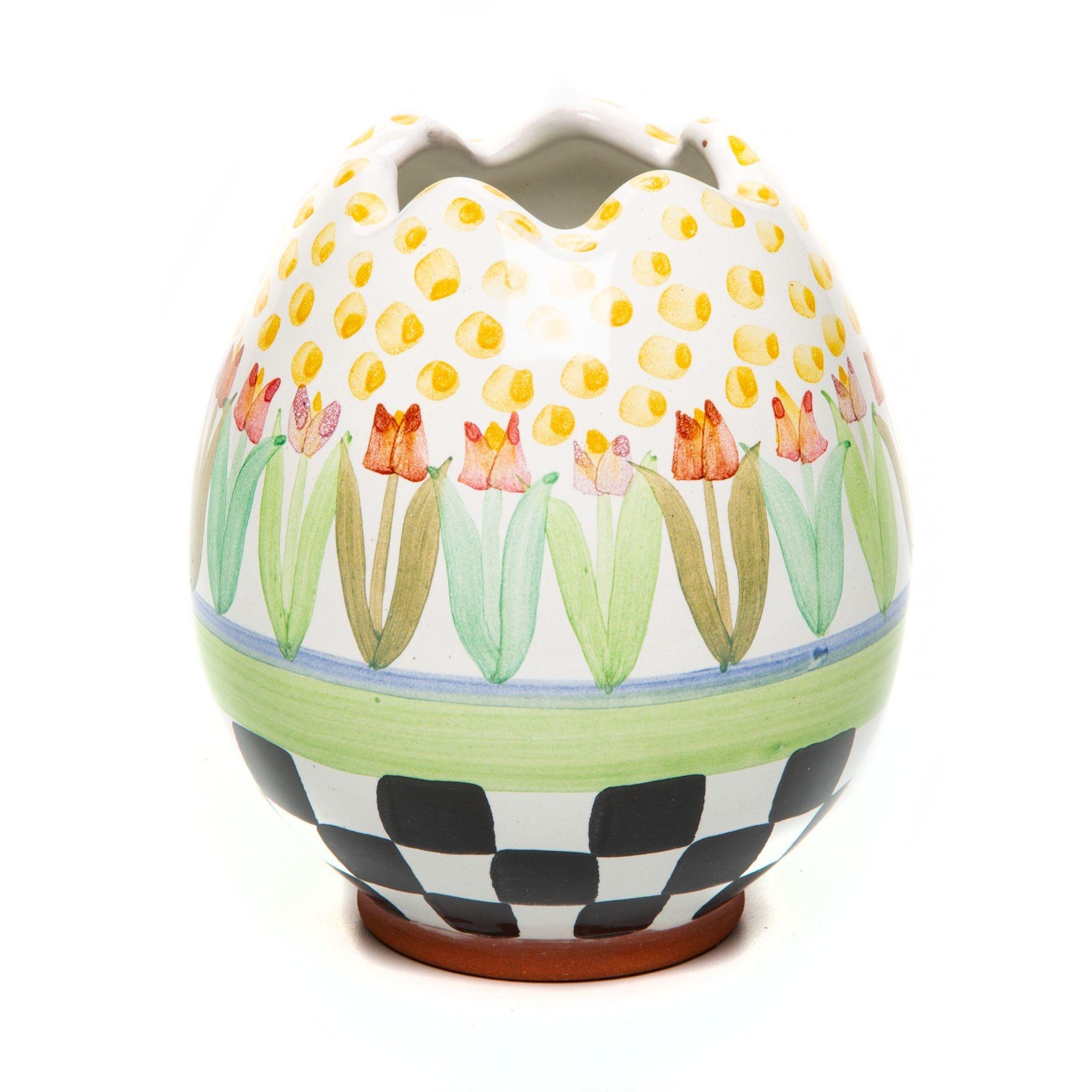 MacKenzie Childs Tulip Garden Egg Vase