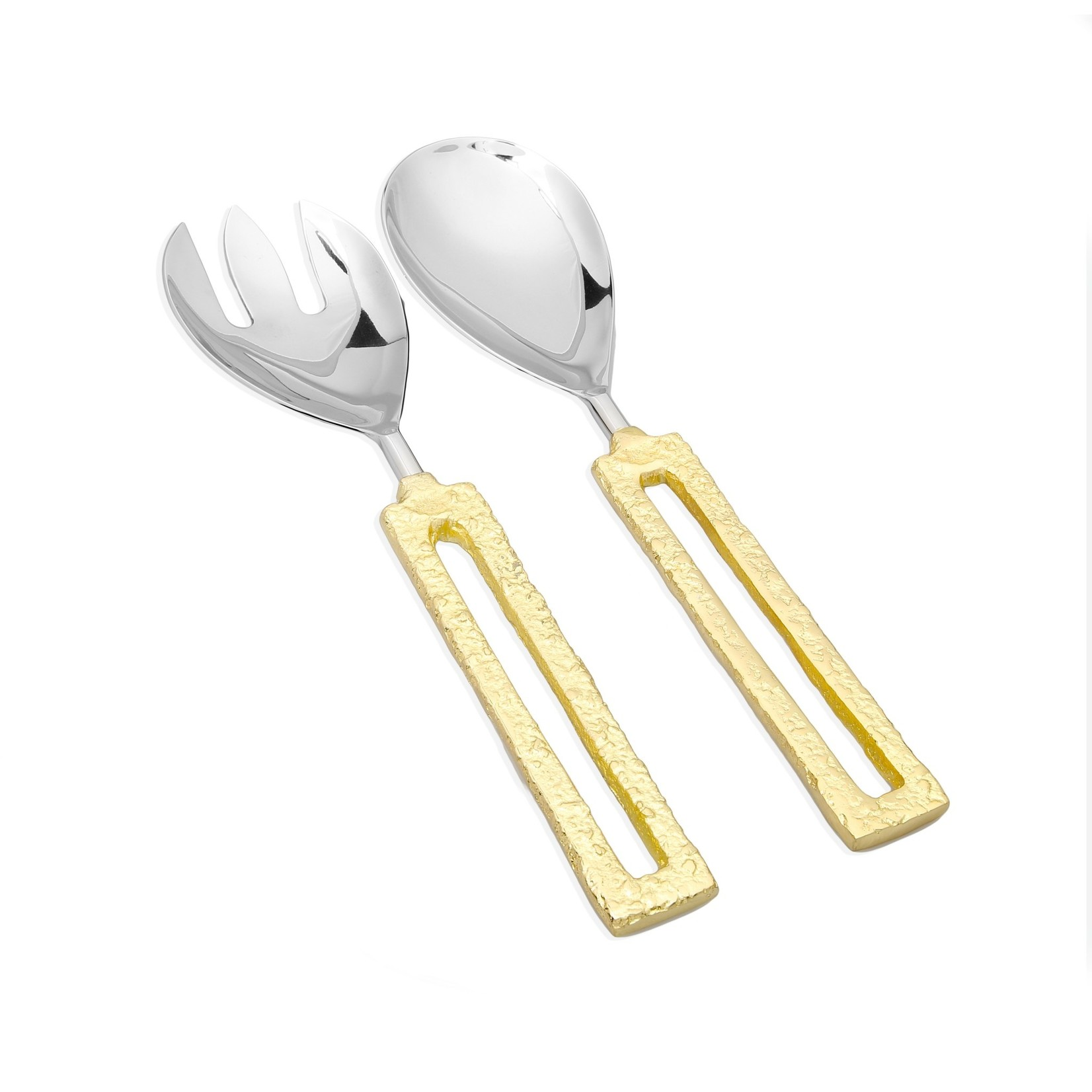 Set of 2 Salad Servers with Square Gold Loop Handles