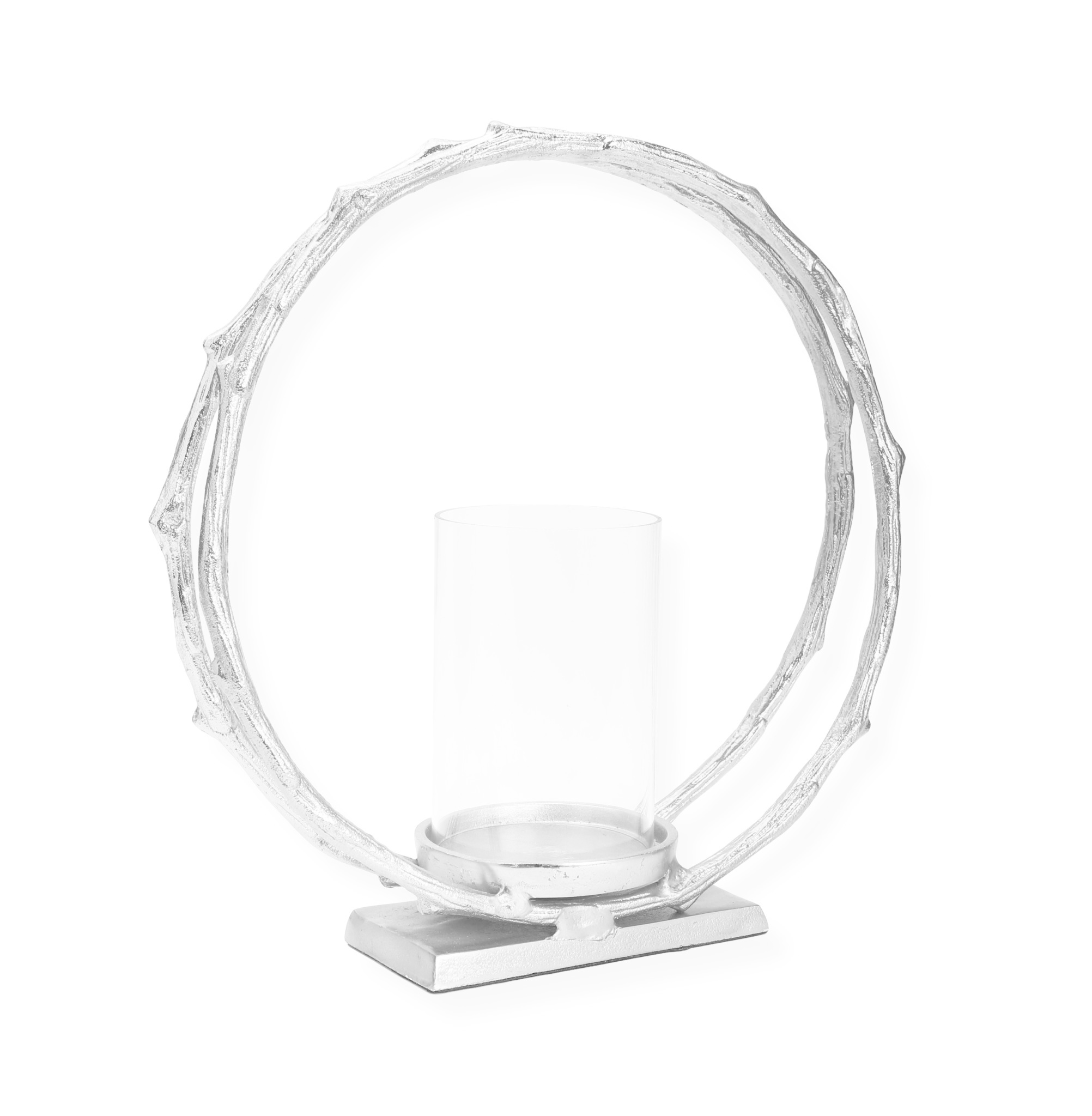 Silver Circle Hurricane Candle Holder (without glass) Medium