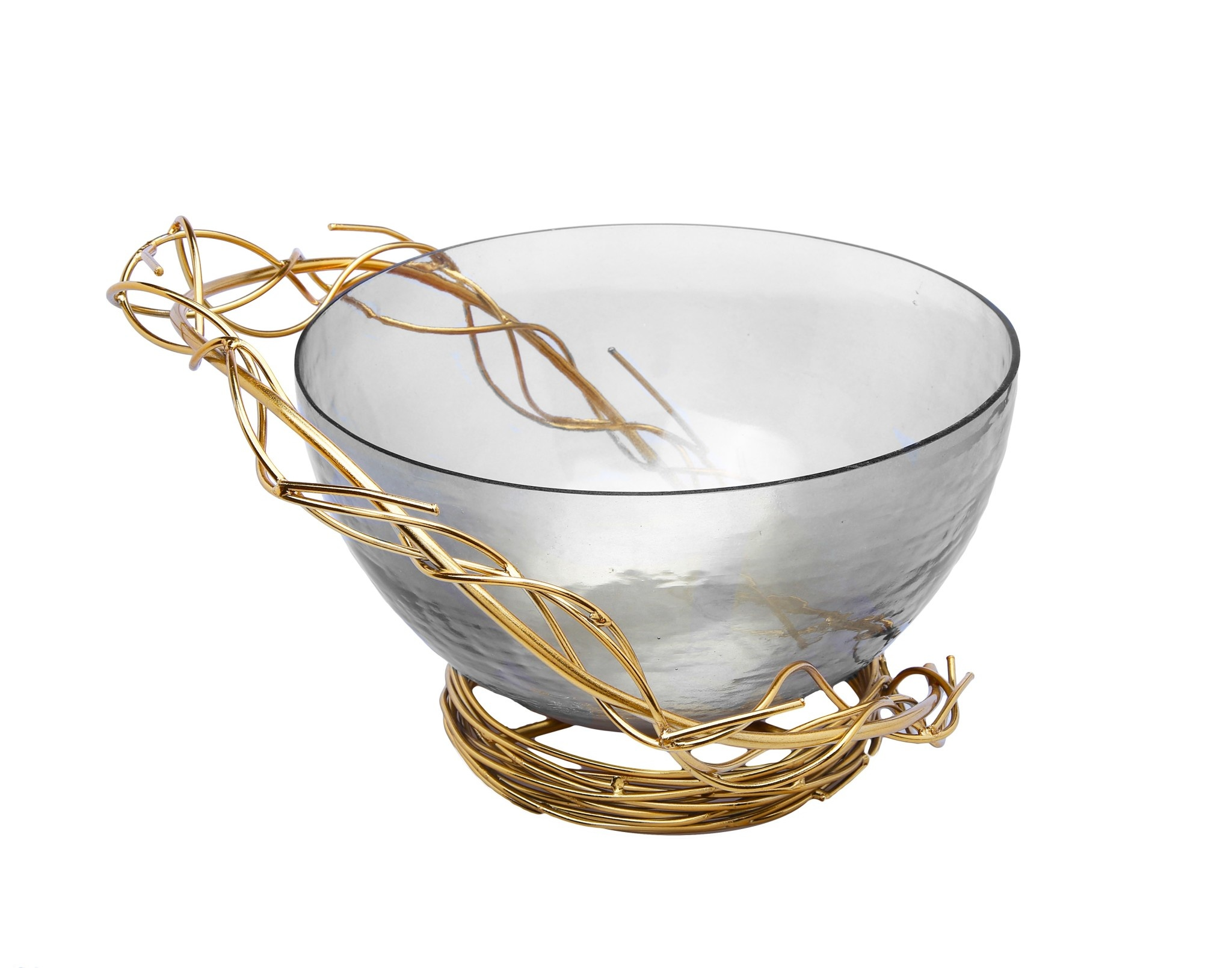 Smoked Glass Salad Bowl with Gold Twig Design