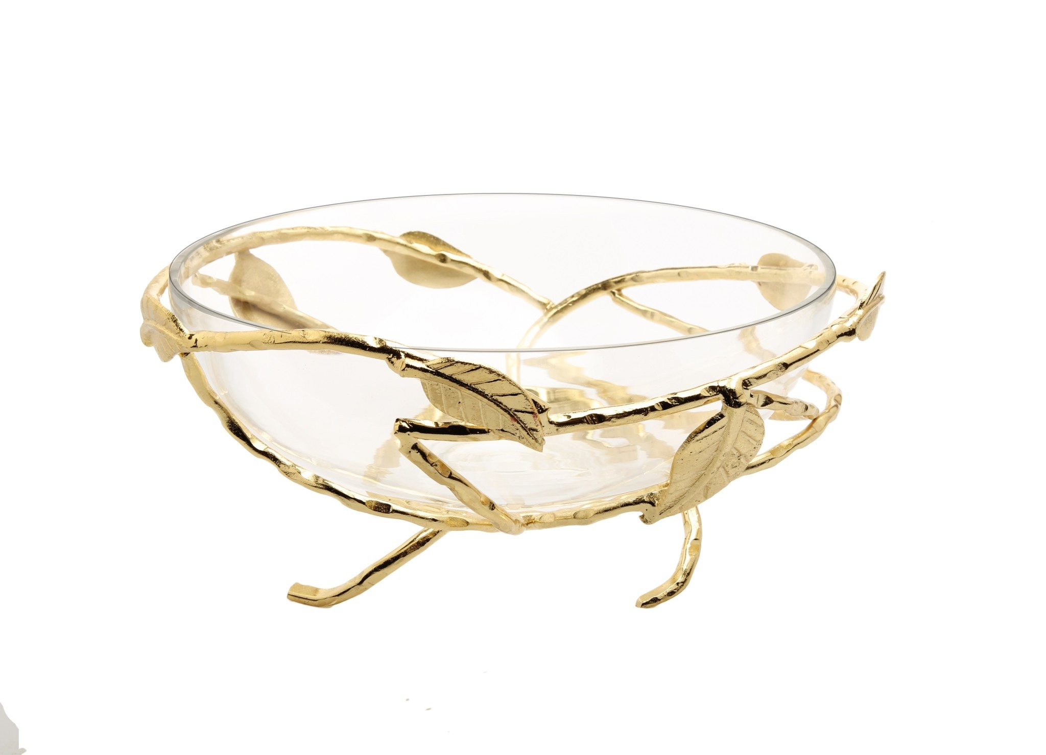 Hammered Glass Salad Bowl with Gold Brass Leaf Decoration