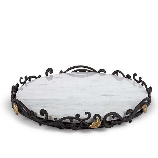 The GG Collection Marble Lazy Susan With Metal Base