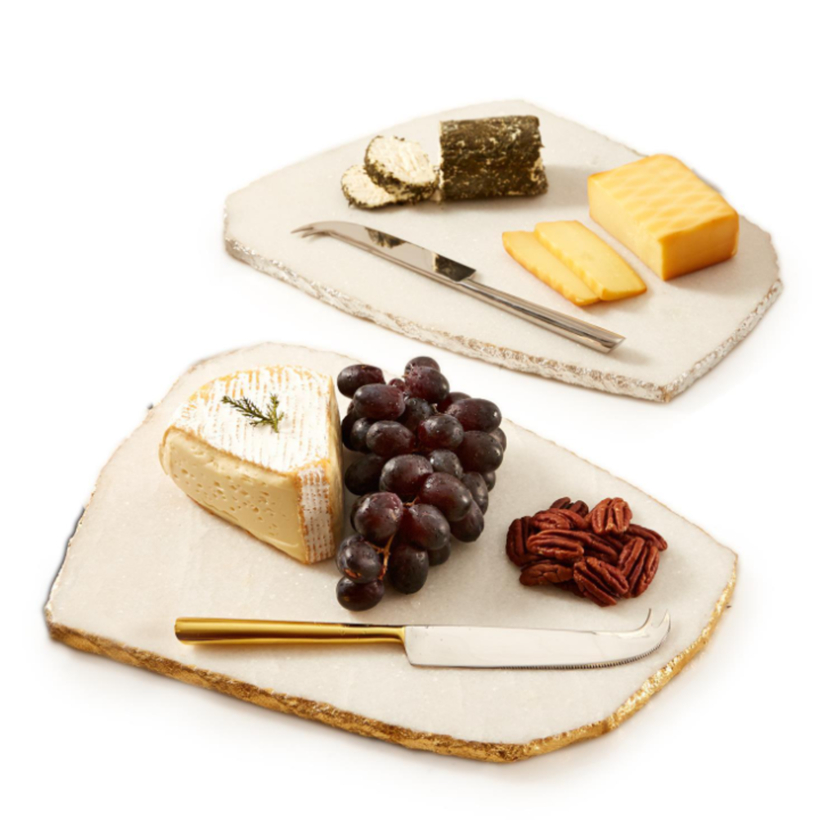 Two's Company WHITE MARBLE CHEESE PLATE WITH KNIFE