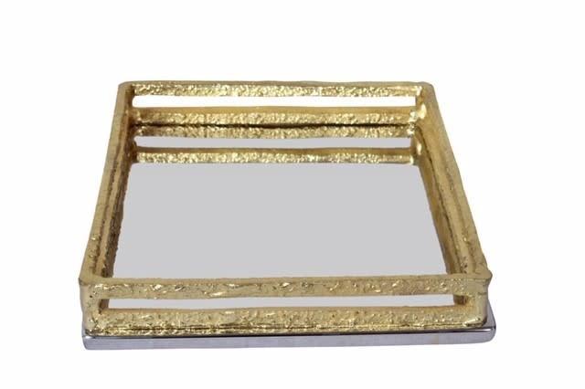 Square Napkin Holder with Gold Loop Design