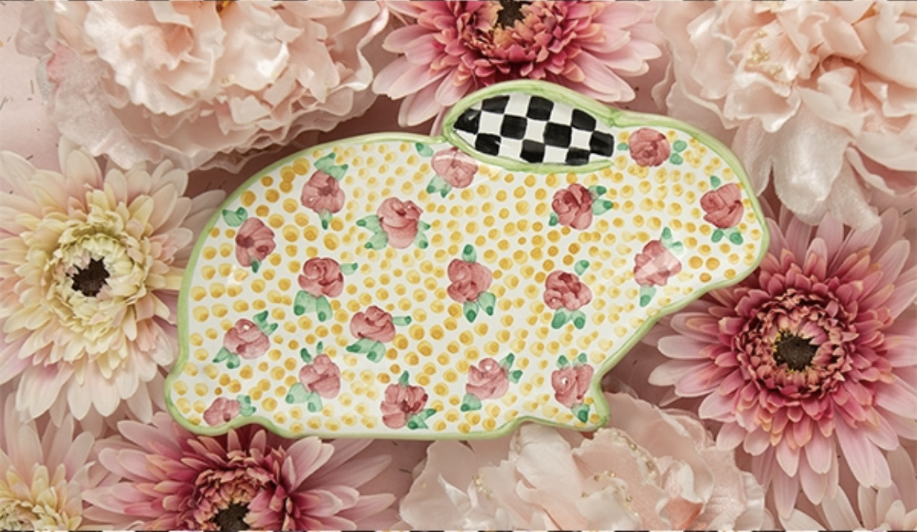 MacKenzie Childs Cabbage Rose Bunny Plate