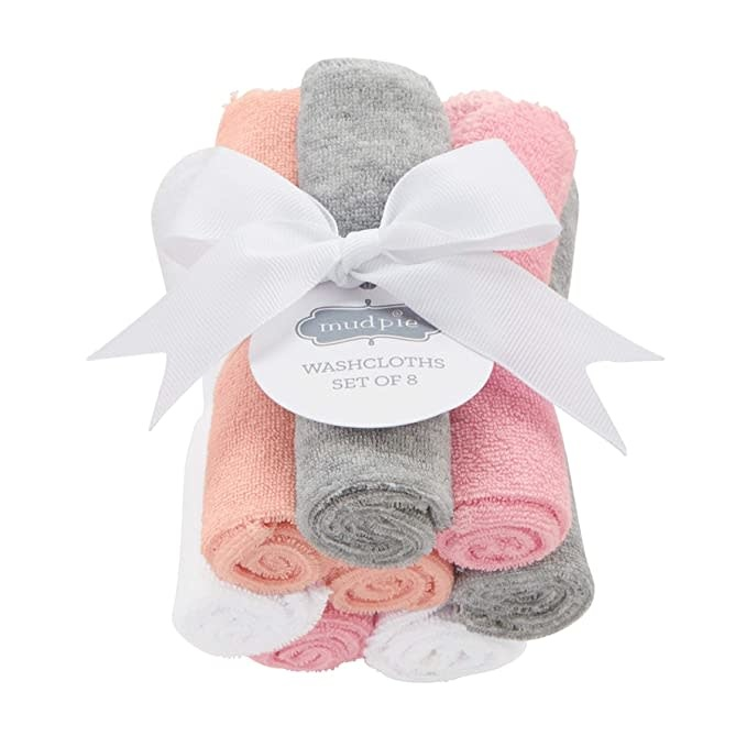 MudPie GIRL WASHCLOTHS SET