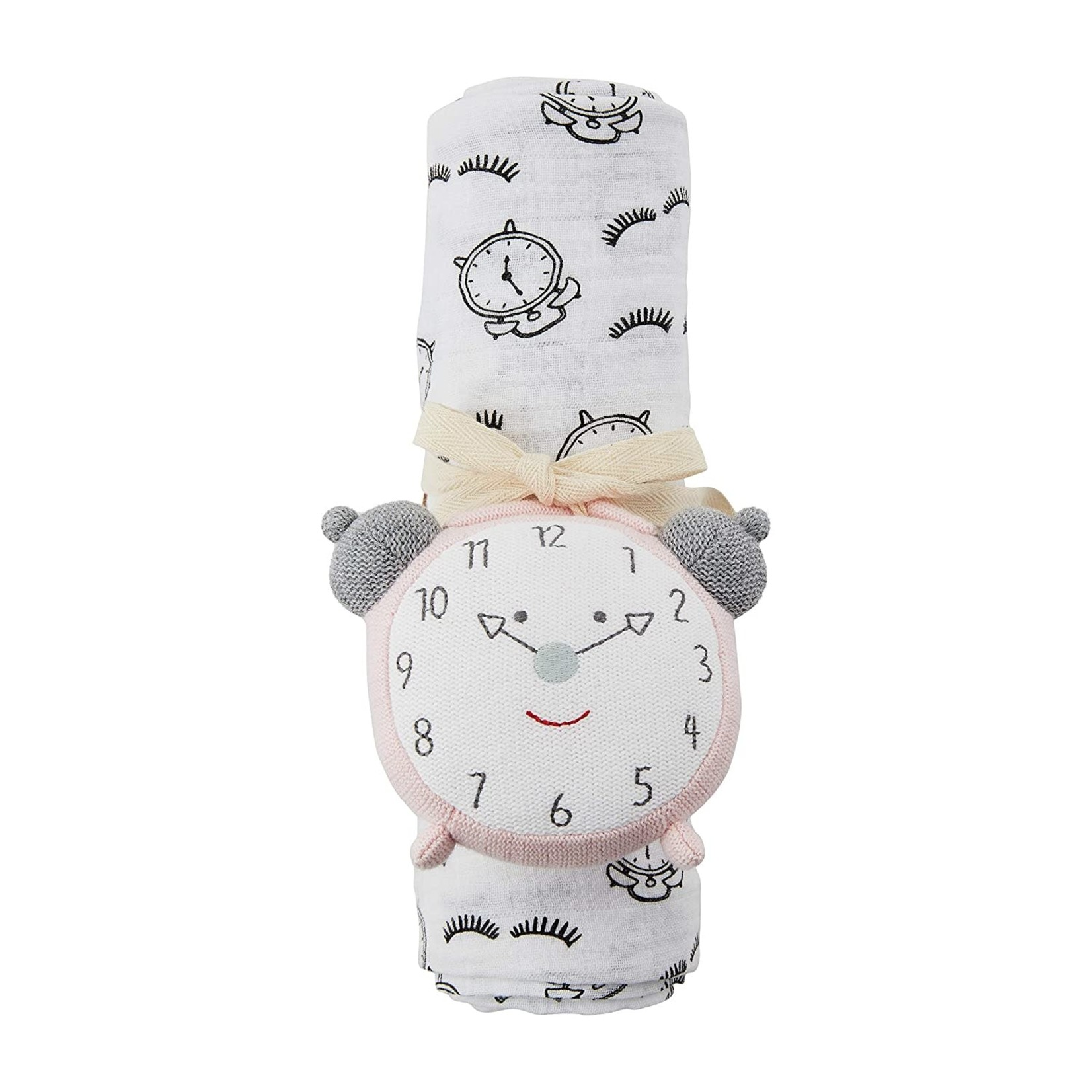 MudPie ALARM CLOCK SWADDLE AND RATTLE