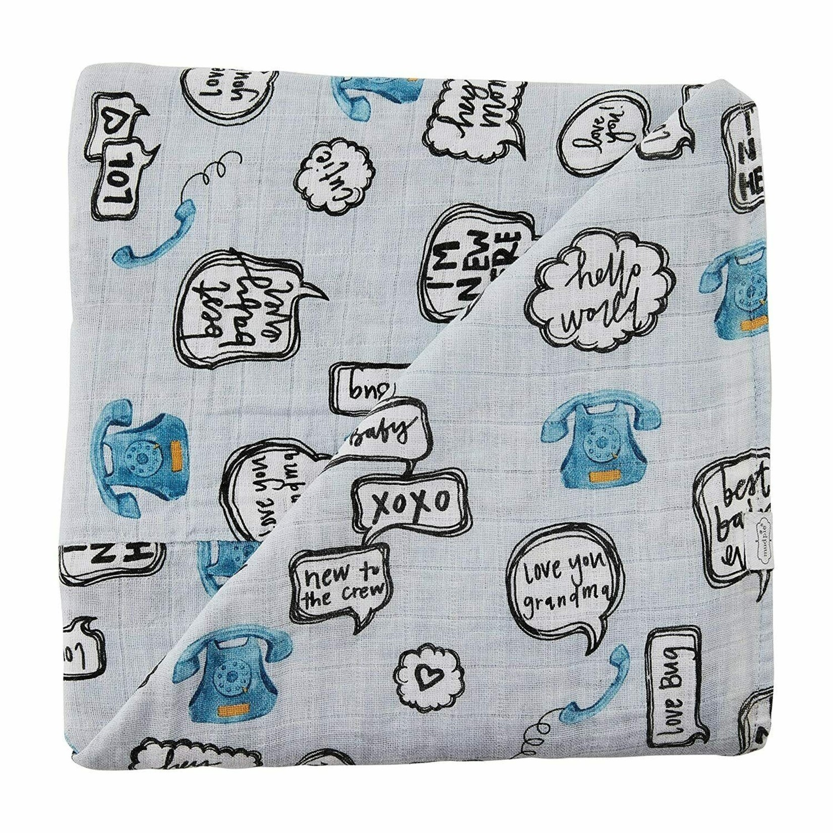 MudPie TELEPHONE SWADDLE AND RATTLE