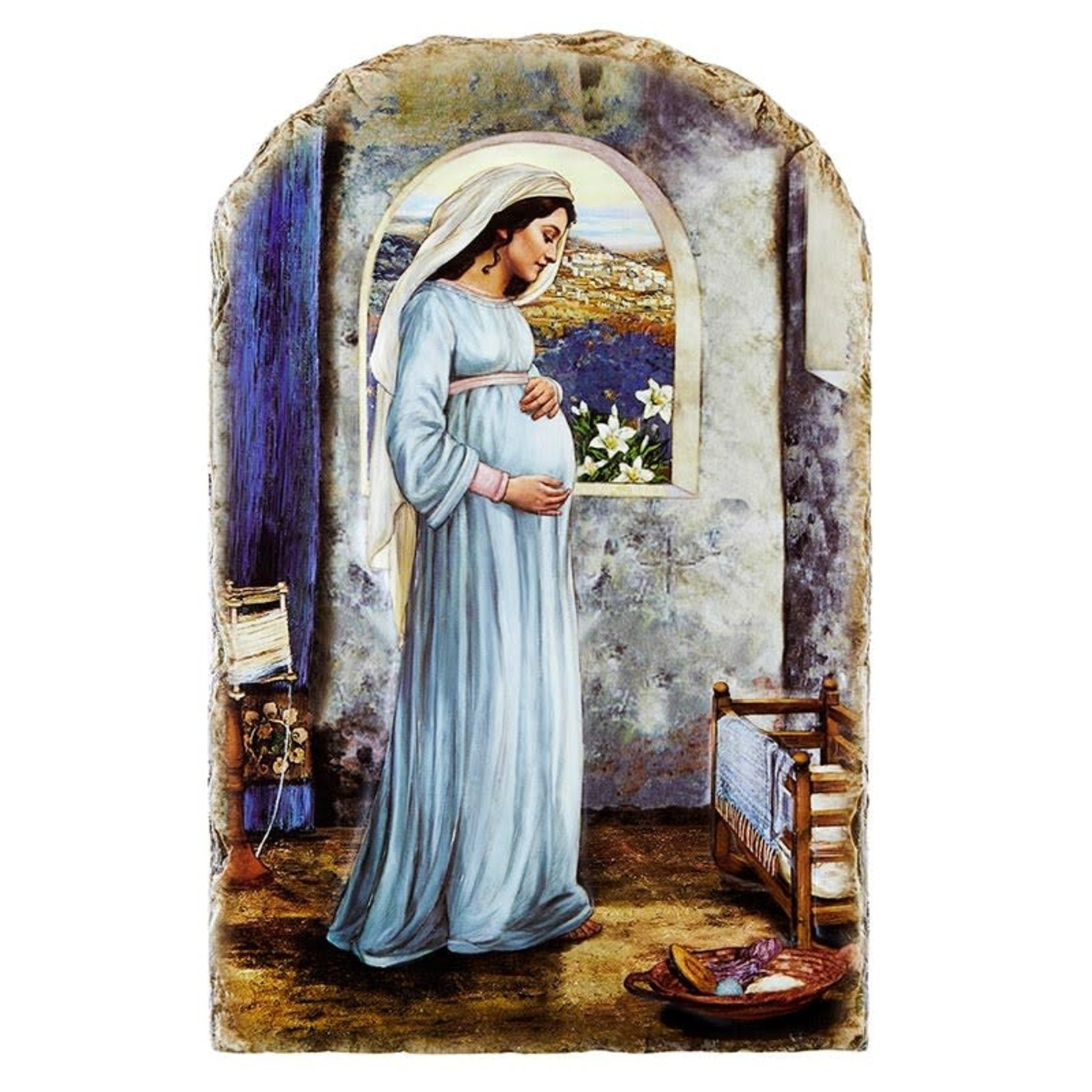 Mary Mother of God Arched Tile Plaque with Wire Stand