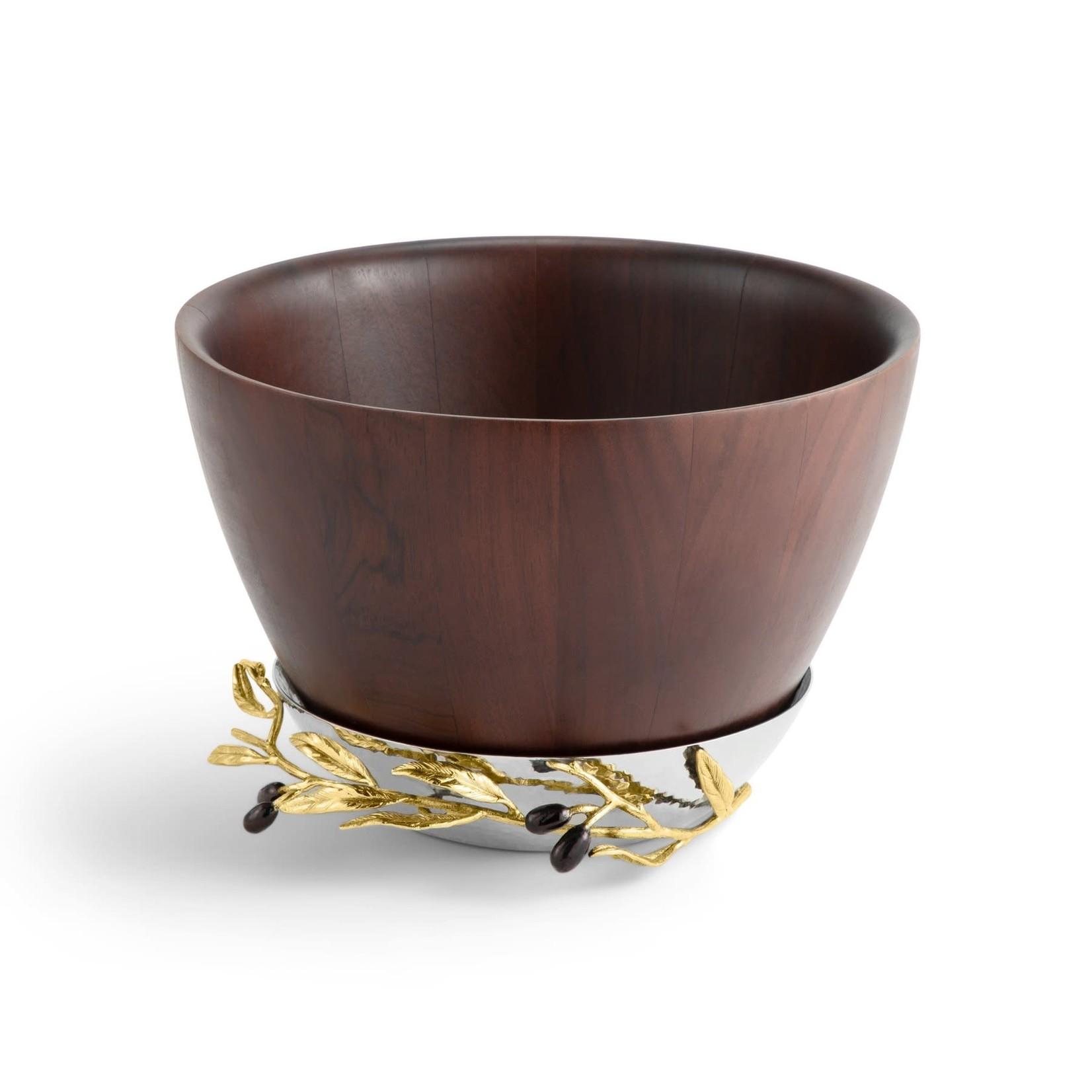 Michael Aram Olive Branch Gold Wood Bowl