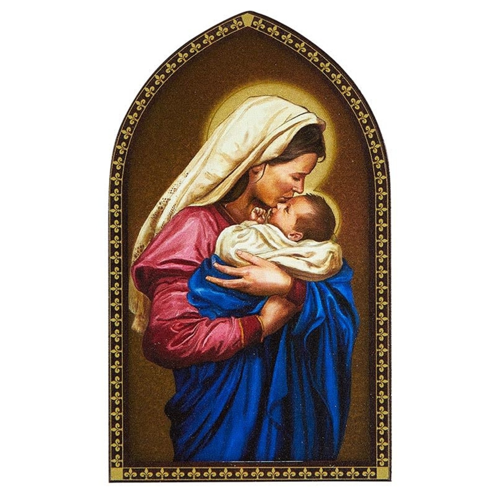 Adoring Madonna And Child Lasered Wood Arched Standing Plaque With Coated Wire Stand