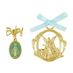 Guardian Angel Crib Medal with Blue Miraculous Pin