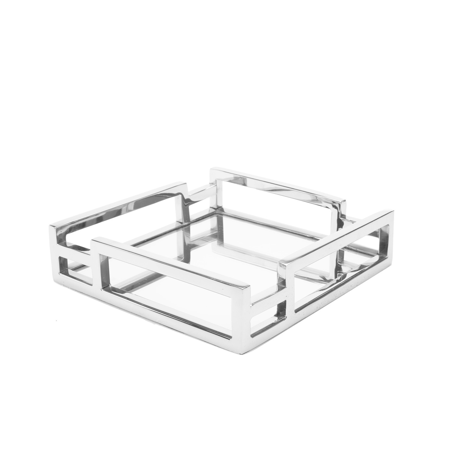 Square Mirror Napkin Holder with Layered Loop Design