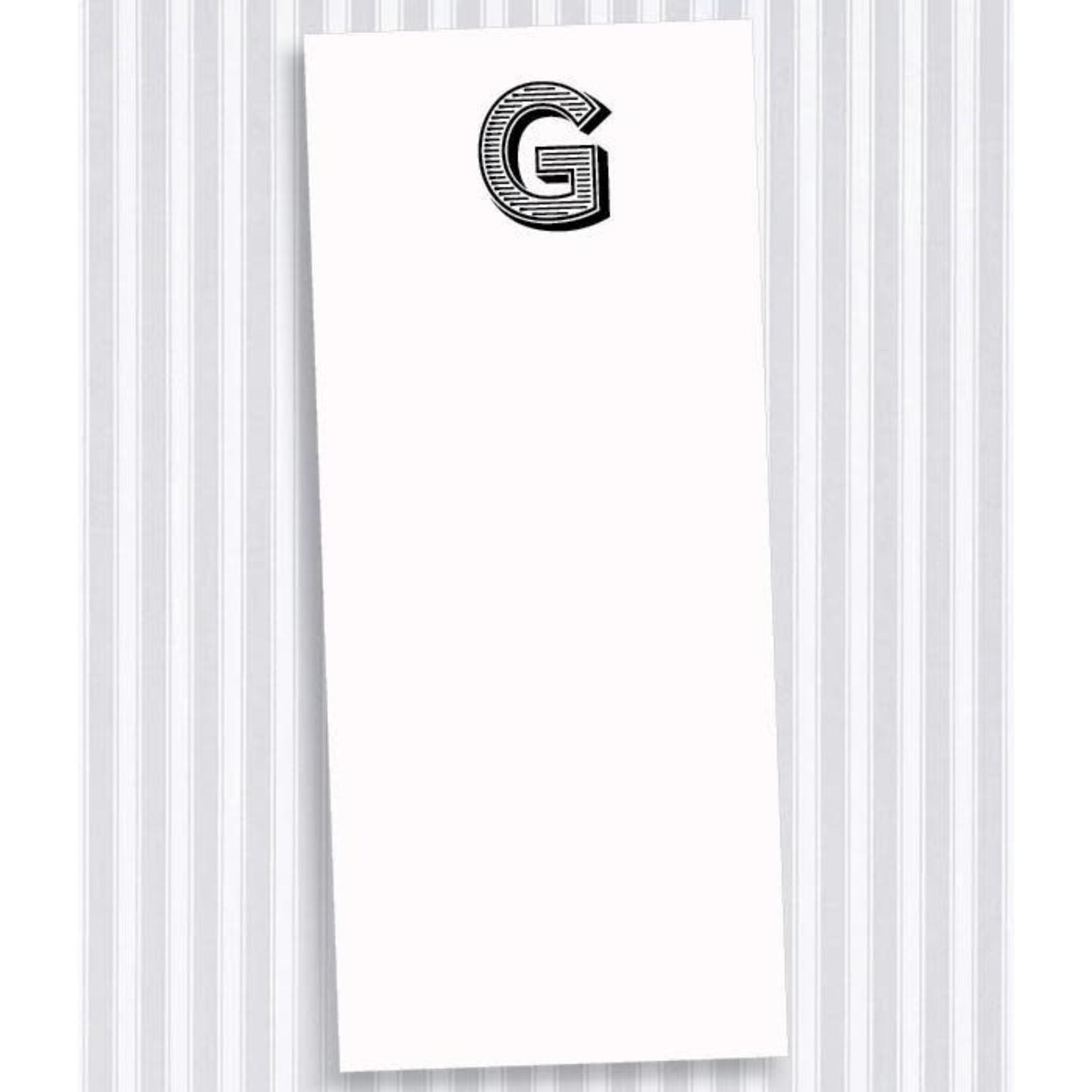 Black Ink Buck Initial Notecards  G