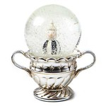 MacKenzie Childs Vintage Silver Snowman Snow Globe