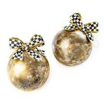 MacKenzie Childs Gold Marbled Ball Ornaments - Set of 2