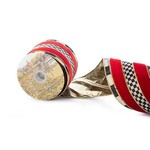 """MacKenzie Childs Courtly Regal 4"""" Ribbon - Red"""