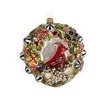 MacKenzie Childs Glass Ornament - Jolly Dated Wreath