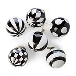 MacKenzie Childs Checkmate Glass Ball Ornaments - Set of 6