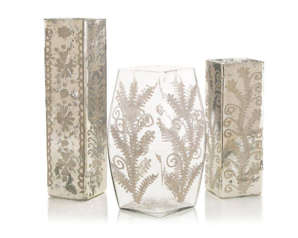 John Richard Set of 3 Etched Mercury Vases