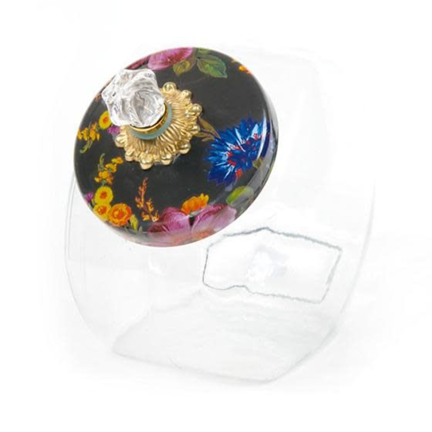 MacKenzie Childs Cookie Jar with Flower Market Enamel Lid - Black