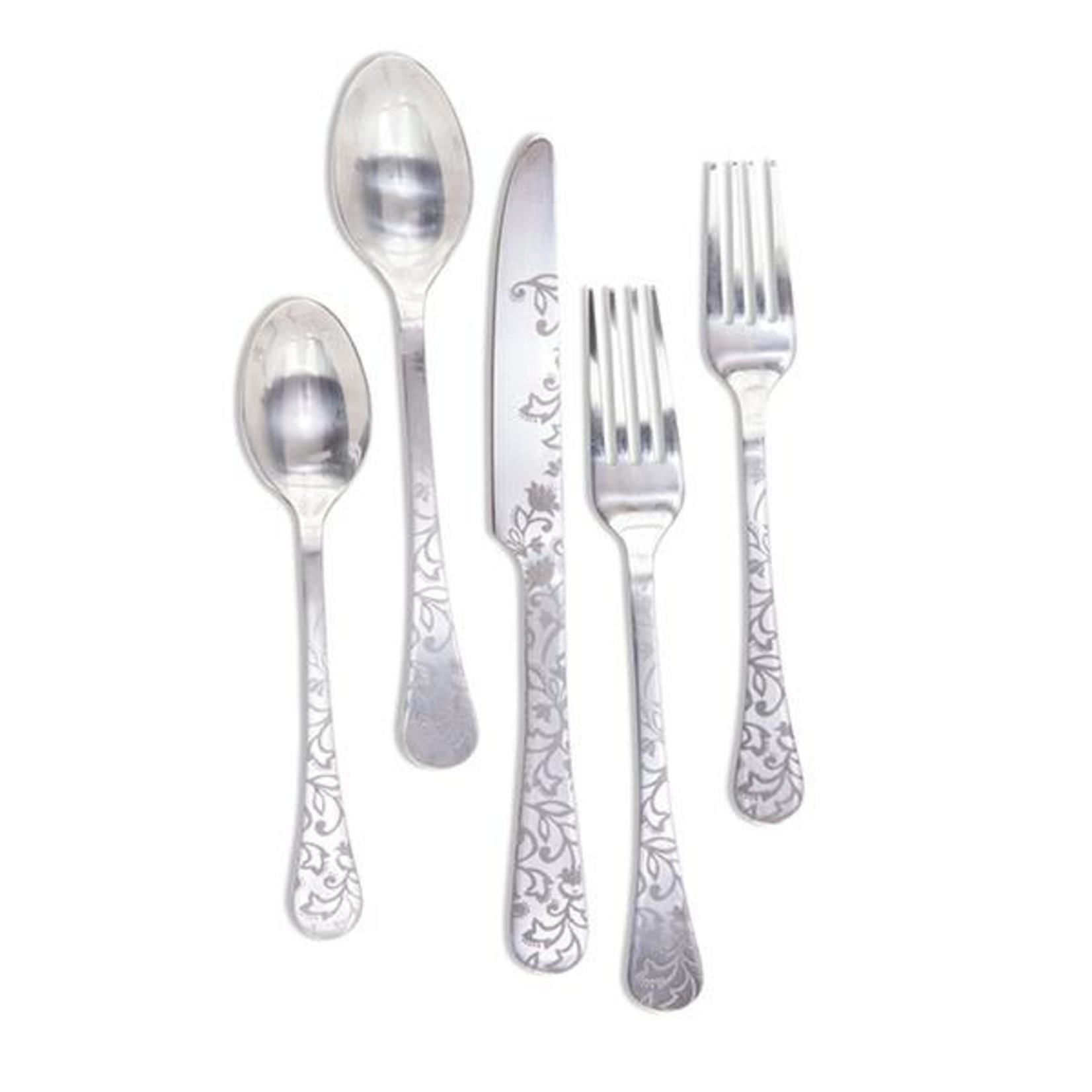 The GG Collection Silver Floral Flatware 5 pc. - Set of 2