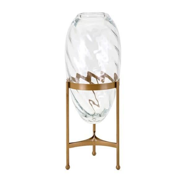 Carlisle Large Glass and Metal Vase