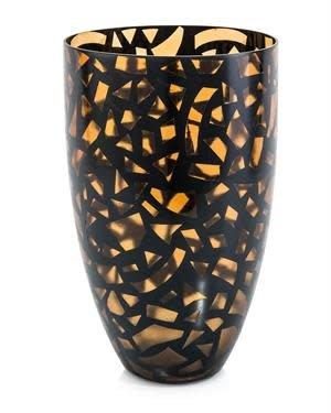 John Richard Confetti Amber and Black Vase
