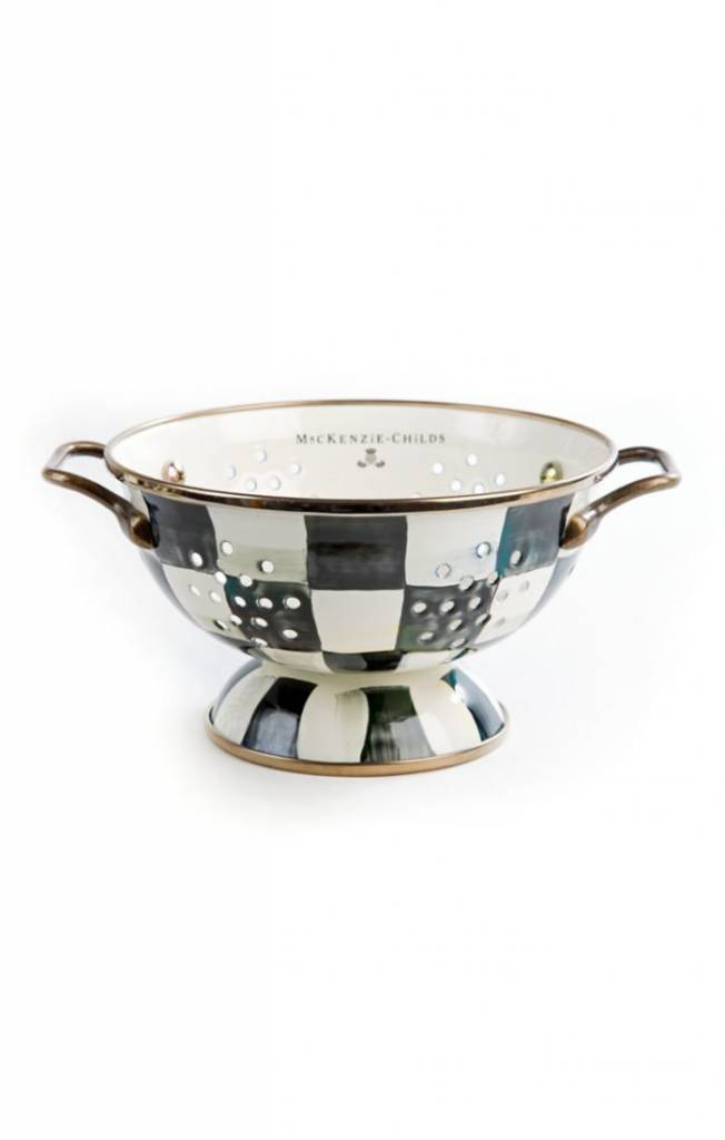 MacKenzie Childs Courtly Check Enamel Colander - Small