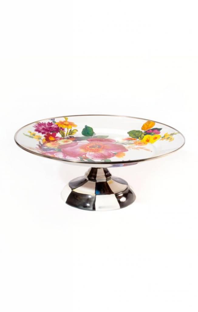 MacKenzie Childs Flower Market Small Pedestal Platter - White