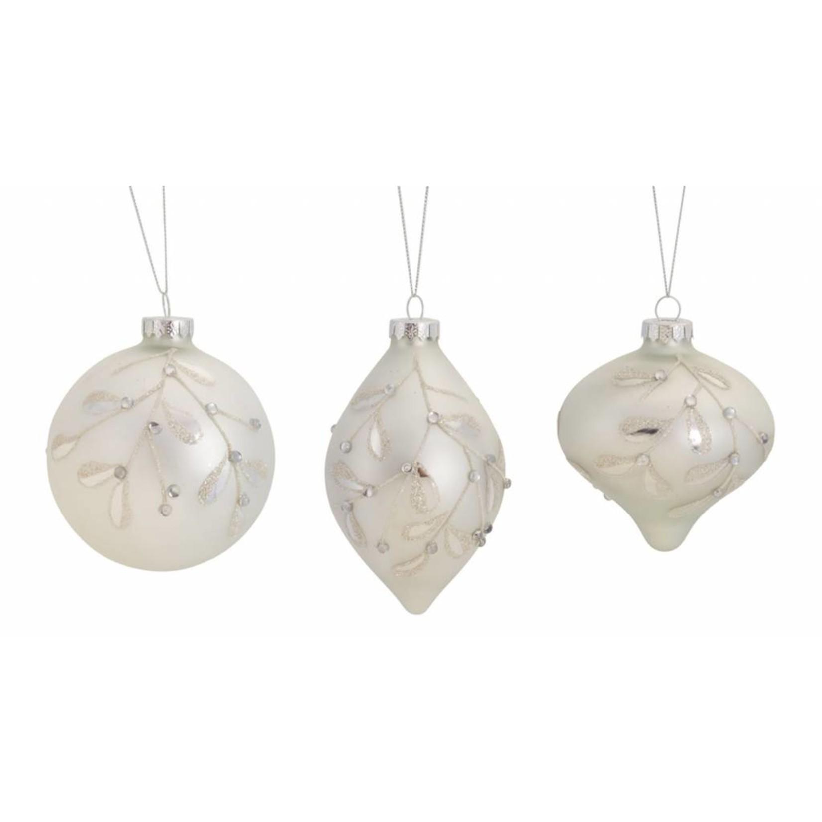 """Ornament (3 Asst) 4.25""""-5.5""""H Glass"""