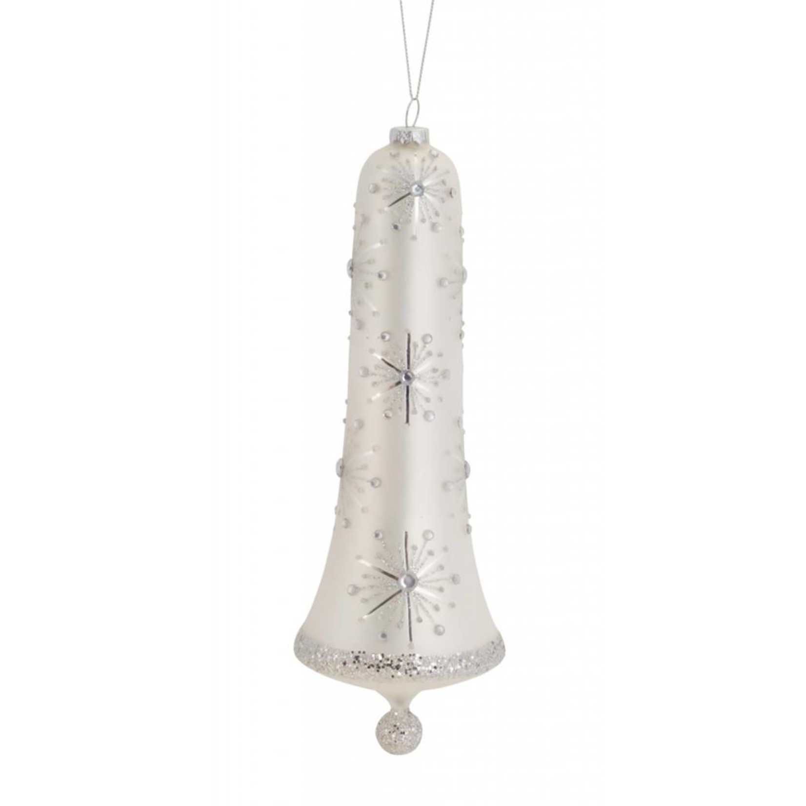 """BELL ORNAMENT 10""""H GLASS - White/Silver"""