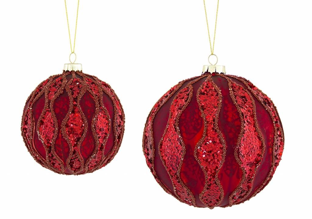 "Ornament (Set of 2) 3""D, 4""D Glass"