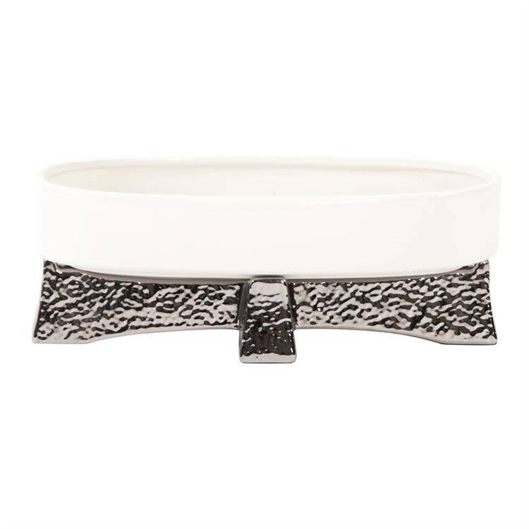 White Ceramic Bowl on Hammered Silver Base
