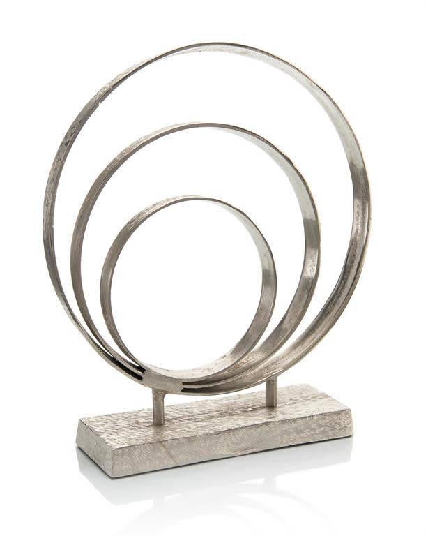 John Richard Triple Ring Sculpture in Nickel Suede