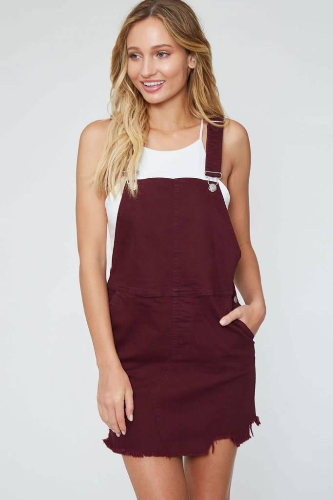 Peach Love California Destructed Overall Dress