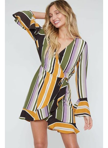 Peach Love California Stripe Wrap Dress