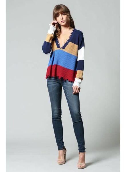 Fate Distressed Stripe Sweater